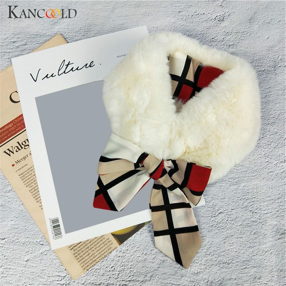 KANCOOLD   Scarf   women New Winter Faux Fur Plush Collar fashion   Scarf     Wrap   Neck Warmer Plaid Print casual   Scarf   Women 2018Nov22