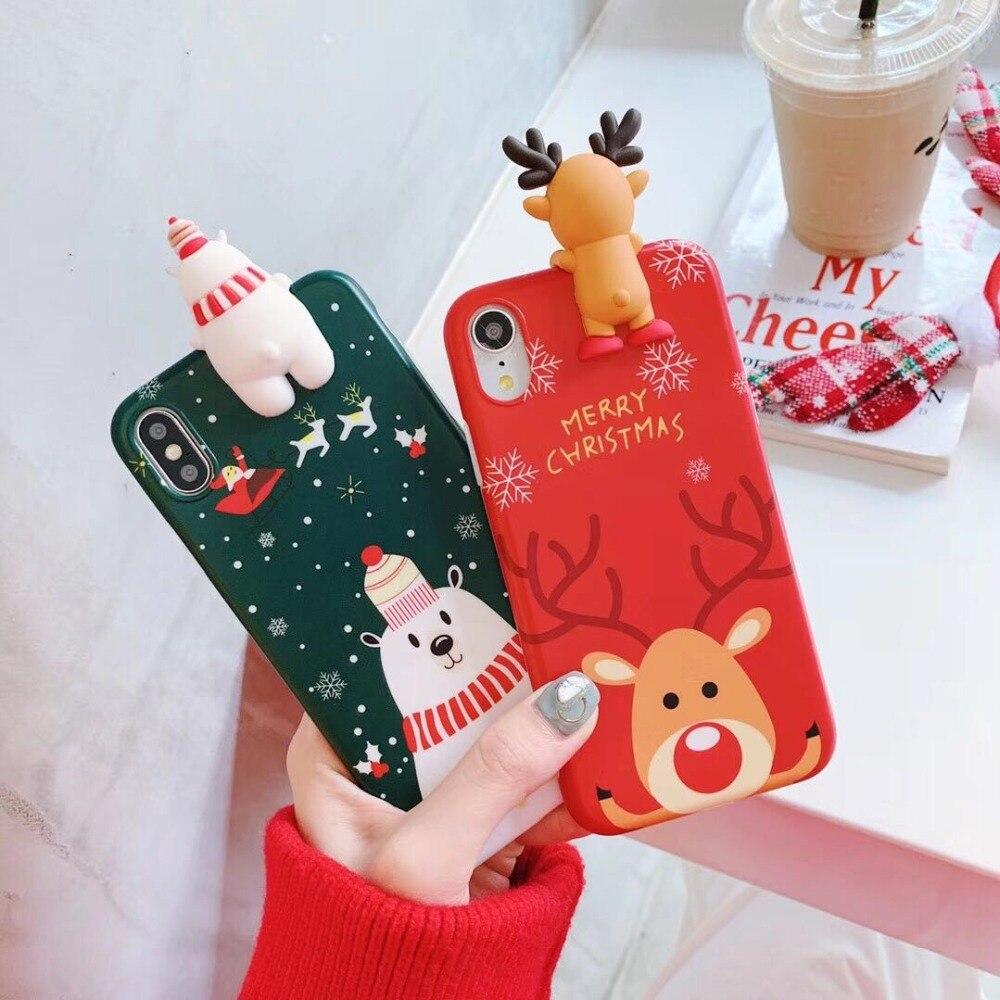 LISHE Luxury 3D Christmas Phone Case For IPhone 6 6s 7 8 Plus Snowman Elk