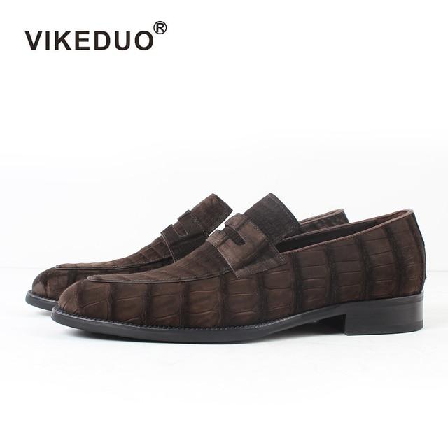 2018 Vikeduo Hot Men's Crocodile Skin Loafers Shoes Custom Genuine Leather Fashion Party wedding Dress Office Original Designer
