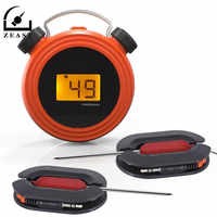 Smart Wireless Remote Alert bluetooth Digital BBQ Food Thermometer Barbecue Temperature Tester with Stainless Dual Probes