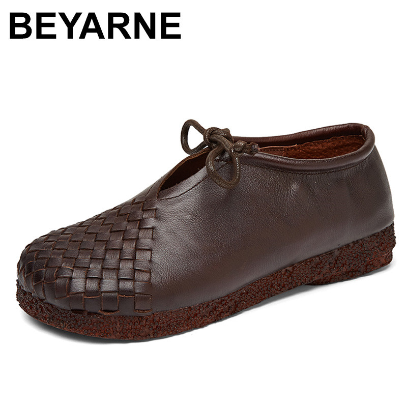 BEYARNE  Women Flat Shoes Lace Up Moccasins Mother Soft Genuine Leather Ladies Shoes Handmade Flats Black Casual Women Shoes fashion brand genuine leather shoes for women casual mother loafers soft and comfortable oxfords lace up non slip flat moccasins