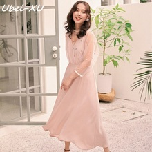 Ubei New French vintage dress very fairy Spring/Autumn minority lace long chiffon high waist