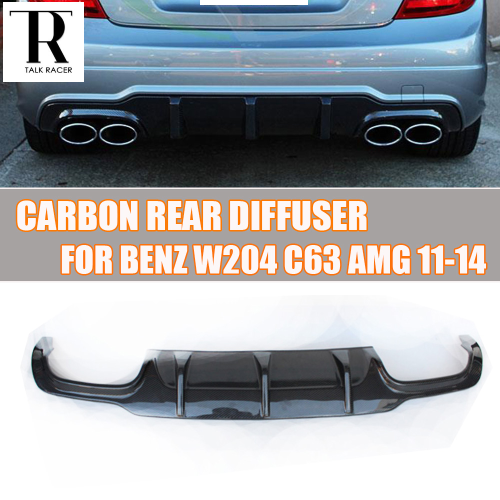 W204 C63 Carbon Fiber Rear Lip Diffuser Spoiler for Benz W204 C-Class Sport Bumper & C63 AMG 2012 2013 2014 carbon fiber car rear bumper extension lip spoiler diffuser for bmw x6 e71 e72 2008 2014 xdrive 35i 50i black frp