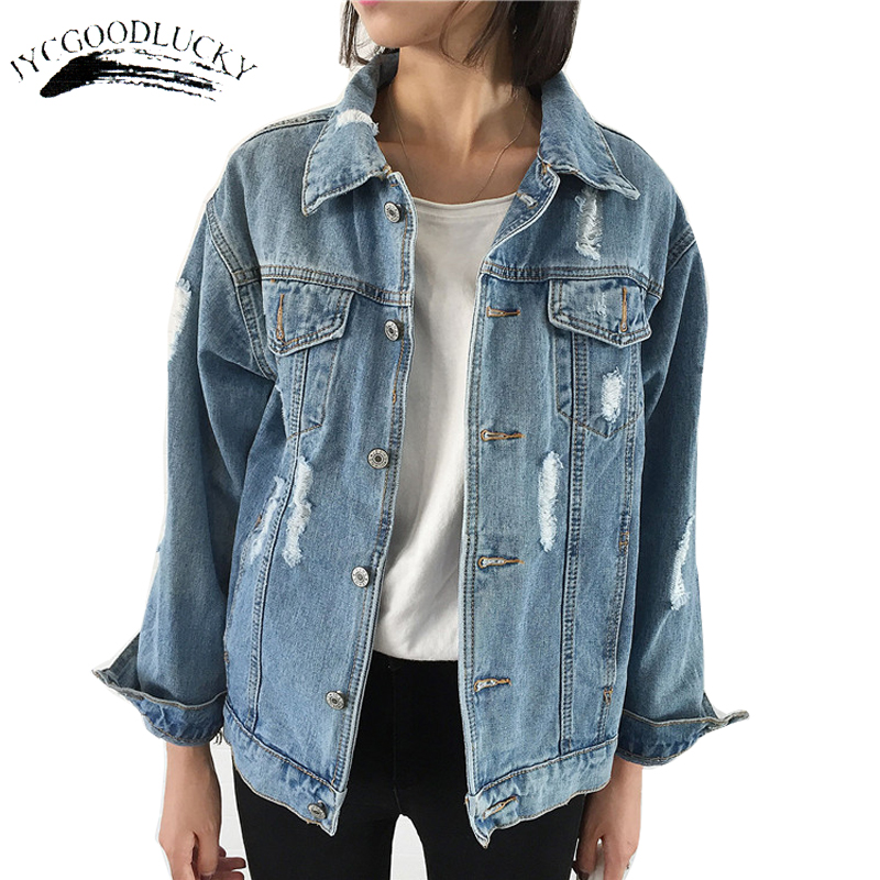 Casual Ripped   Basic     Jackets   Autumn Turn Down Collar Jeans Denim   Jacket   Coat Female Long Sleeve Torn Coats For Women With Hole