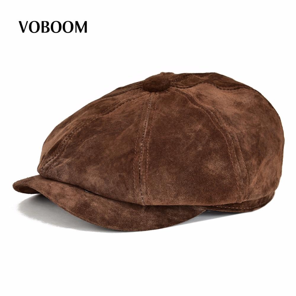 VOBOOM Genuine Leather Newsboy Cap Men Ws