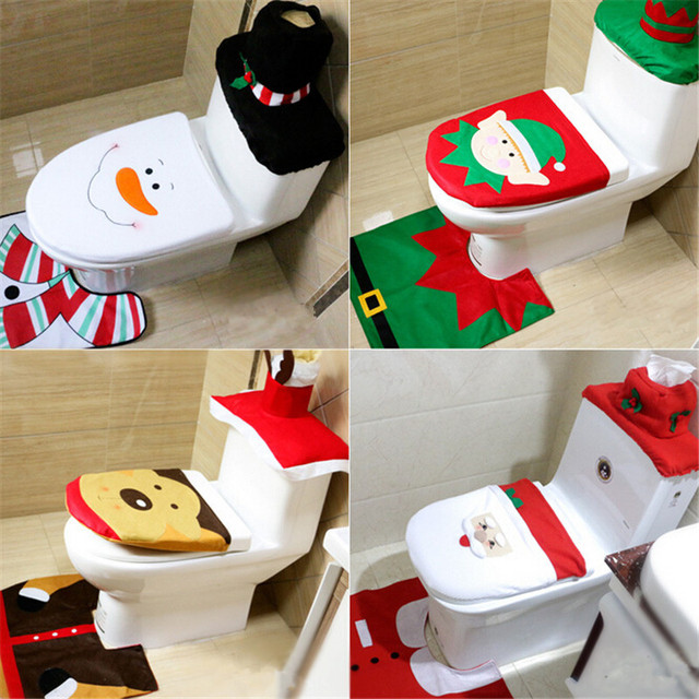 Christmas 2017 New Santa Claus Toilet Seat Cover And Rug Bathroom Set Decorations For Home