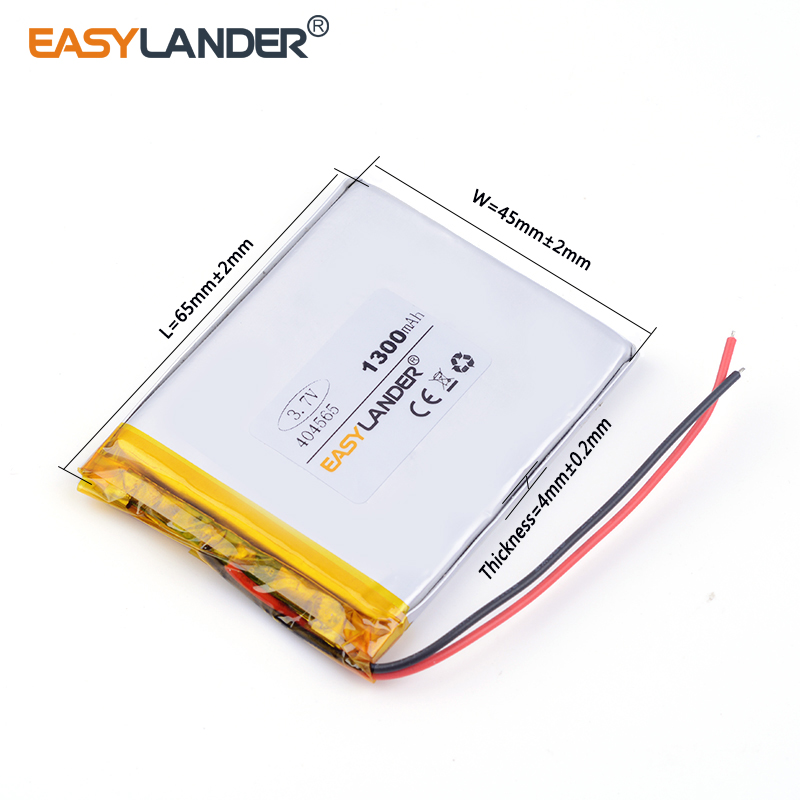 10pcs /Lot 3.7v lithium Li ion polymer rechargeable battery 404565 1300MAH For tablet pc power bank PAD PSP E-book andorid phone