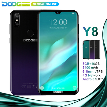 New arrival DOOGEE Y8 Android 9.0 Smartphone 6.1″FHD 19:9 Display 3400mAh MTK67393GB RAM 16GB ROM 4G LTE Mobile