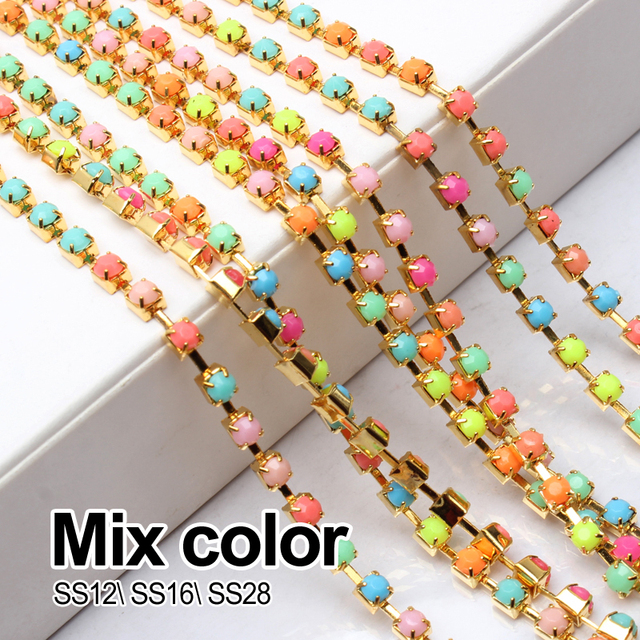Mix Color 5yards 10yards Acrylic Rhinestone Chain Gold SS12 SS16 SS28 for  Garment free shipping e2644c665a7e