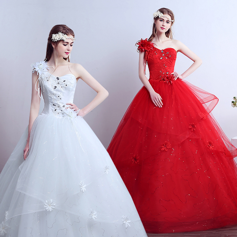 Red And White Ball Gown Wedding Dress: 2017 New Stock Plus Size Women Pregnant Bridal Gown