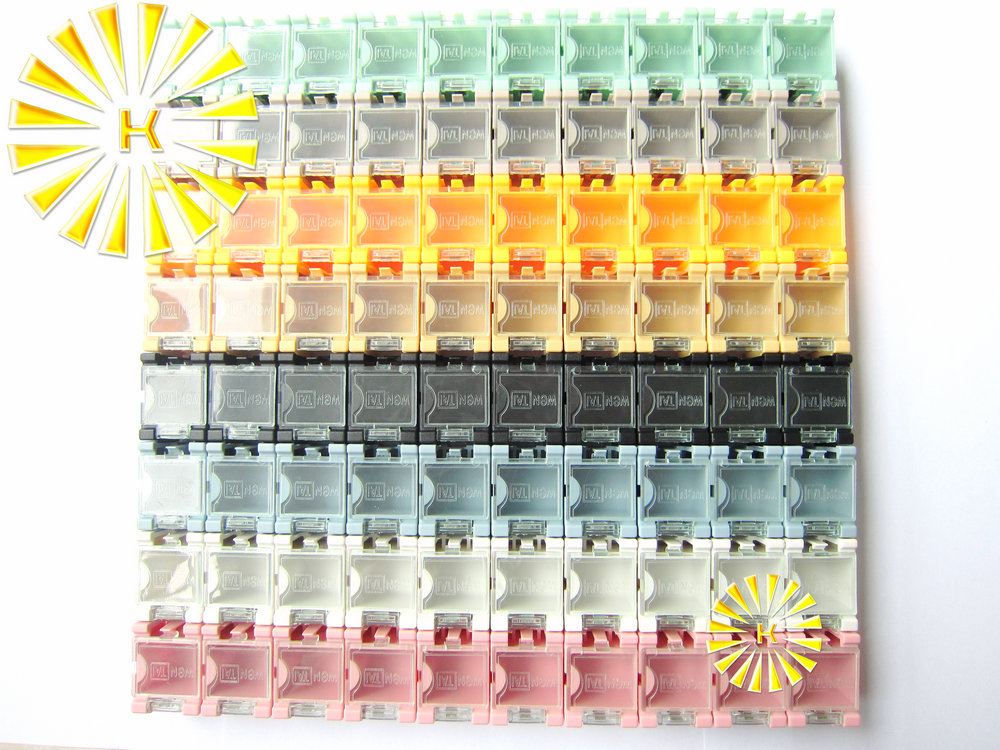 High quality 80pcs x SMD Capacitor Resistor SMT Electronic Component Mini Storage box Practical Jewelry storaged Case 8 colors