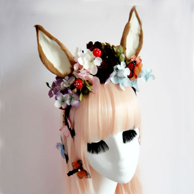 Fancy Dress Cat Fox Ears Headband Anime Cosplay Pairty Costume Flowers Gothic Headbands Hair Accessories : fox ears costume  - Germanpascual.Com