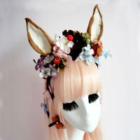 Fancy Dress Cat Fox Ears Headband Anime Cosplay Pairty Costume Flowers Gothic Headbands Hair Accessories