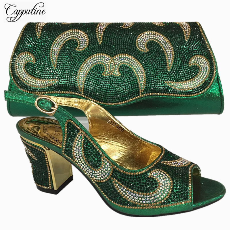 Capputine High Quality African Wedding Shoes And Bag Sets Italian Women Green Color Shoes And Bag To Match Set On Stock BL735C doershow high quality italian shoe and bag to match women shoes african party shoes and bag set green with rhinestone kh1 3