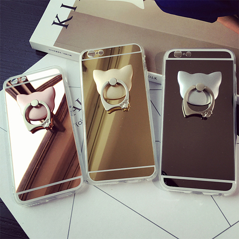Fashion metal cat ring stand mirror surface phone cases for Coque iphone 5 miroir