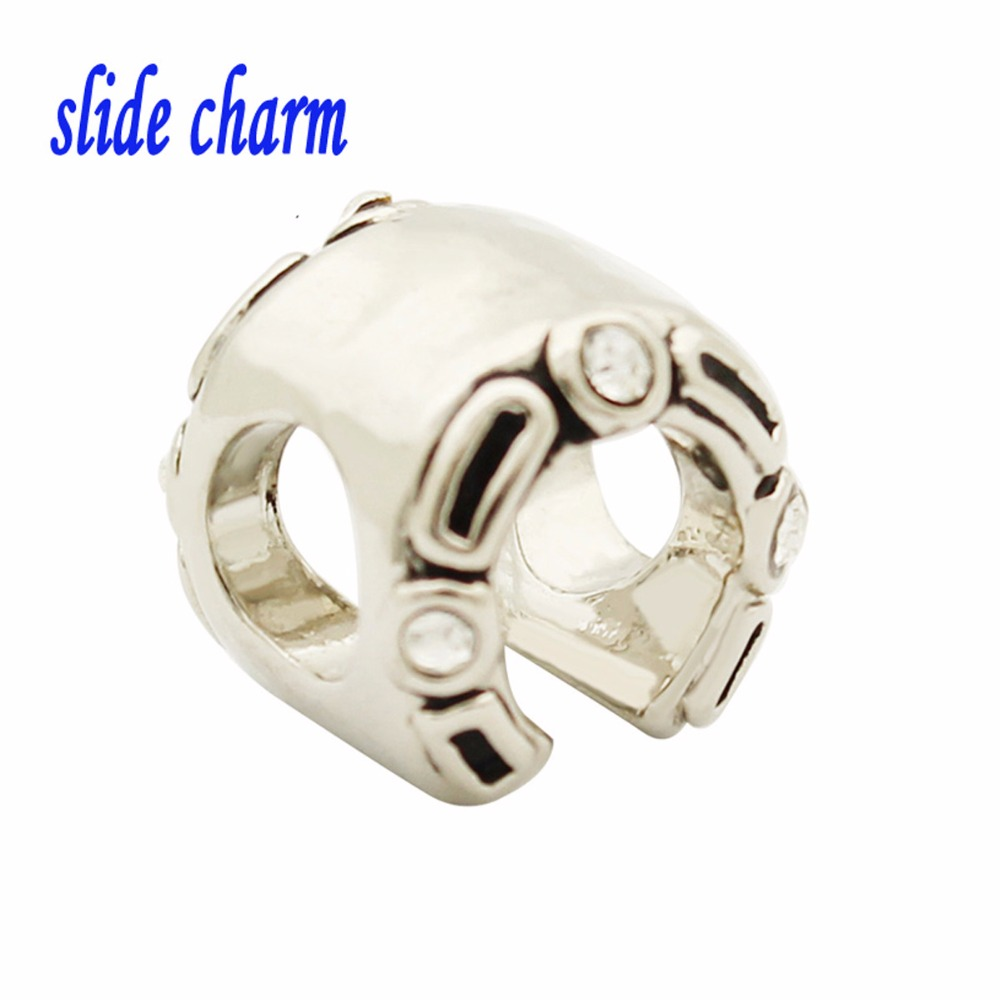 slide charm Valentine's Day gift of children and white mosaic crystal horseshoe beads fit Pandora charm bracelets