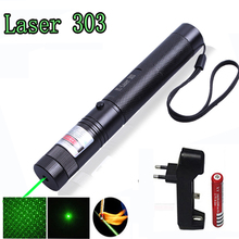 цена на Laser Pointer High Power 532nm 303 Green Laser Pointer Pen Adjustable Burning Match With Rechargeable 18650 Battery