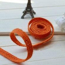 """Naranja cuerda de yute decoración de cuerda tejida patchwork cinturón zakka taping cinta de cáñamo decoración accesorio 10 m/lote 10 mm ( 0.394 """" )"""