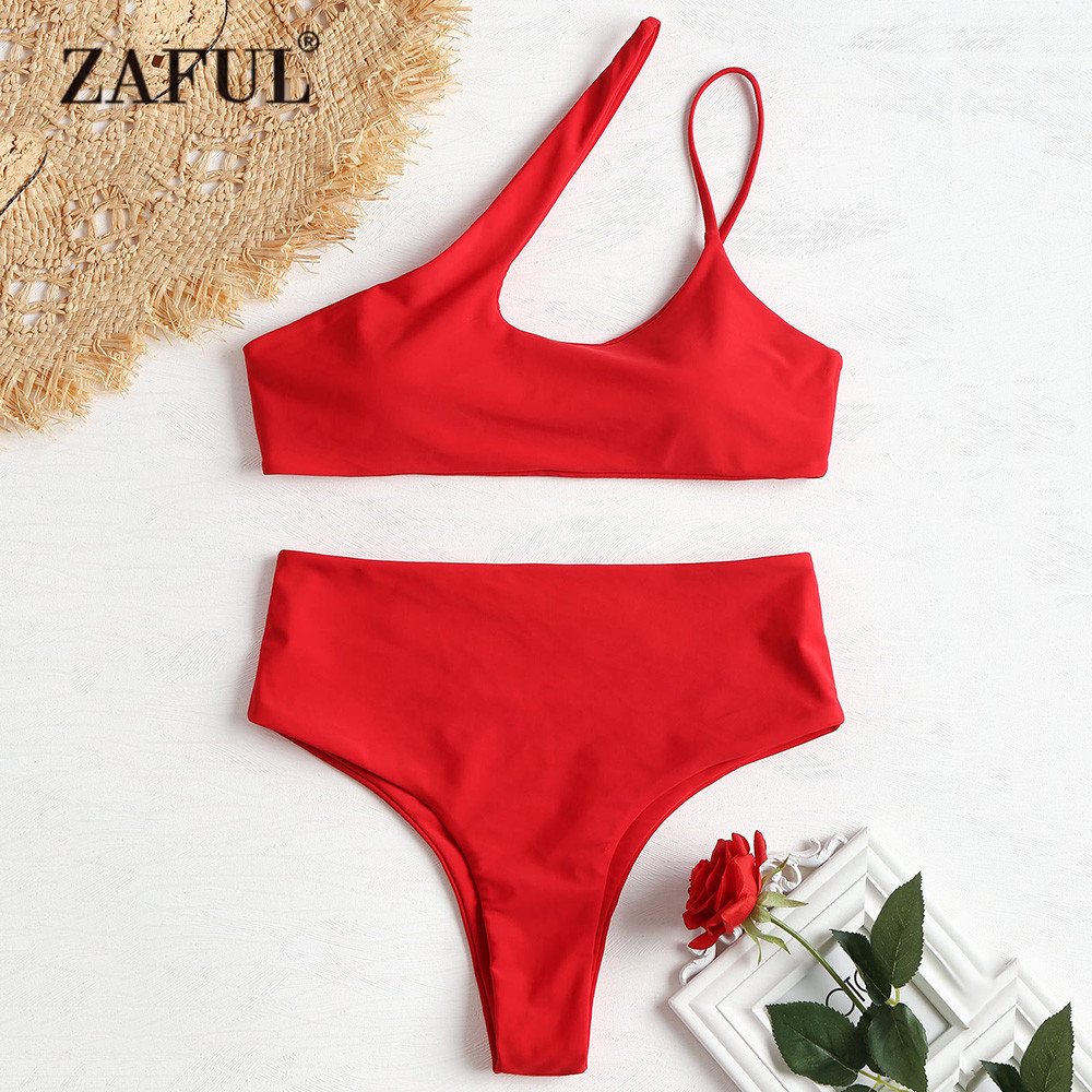 ZAFUL <font><b>High</b></font> Cut One Shoulder <font><b>Bikini</b></font> <font><b>2018</b></font> <font><b>Swimwear</b></font> Women <font><b>High</b></font> <font><b>Waist</b></font> Swimsuit <font><b>Sexy</b></font> Hollow Out Padded <font><b>Bikini</b></font> Set Biquni Bathing Suit image
