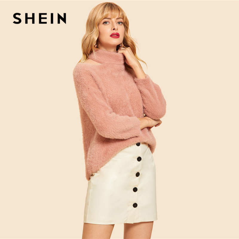 64a99403025f ... Pink Cut Out High Neck Solid Fluffy Sweater Casual Cold Shoulder High  Neck Long Sleeve Pullovers Women Autumn Sweaters. Sold Out. Previous. Next
