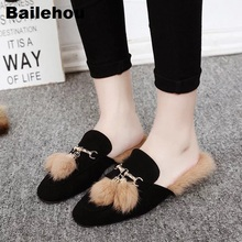 Bailehou Women Fur Slippers Suede Plush Mule Shoes Retro British Tassel Buckle Loafers Flat Casual Outdoor