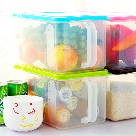 Zakka plastic box with handle cereal container fridge