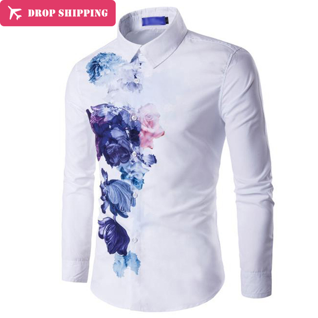 460f0076f New fashion all match men clothing youth man printing long sleeve shirt male  casual square collar