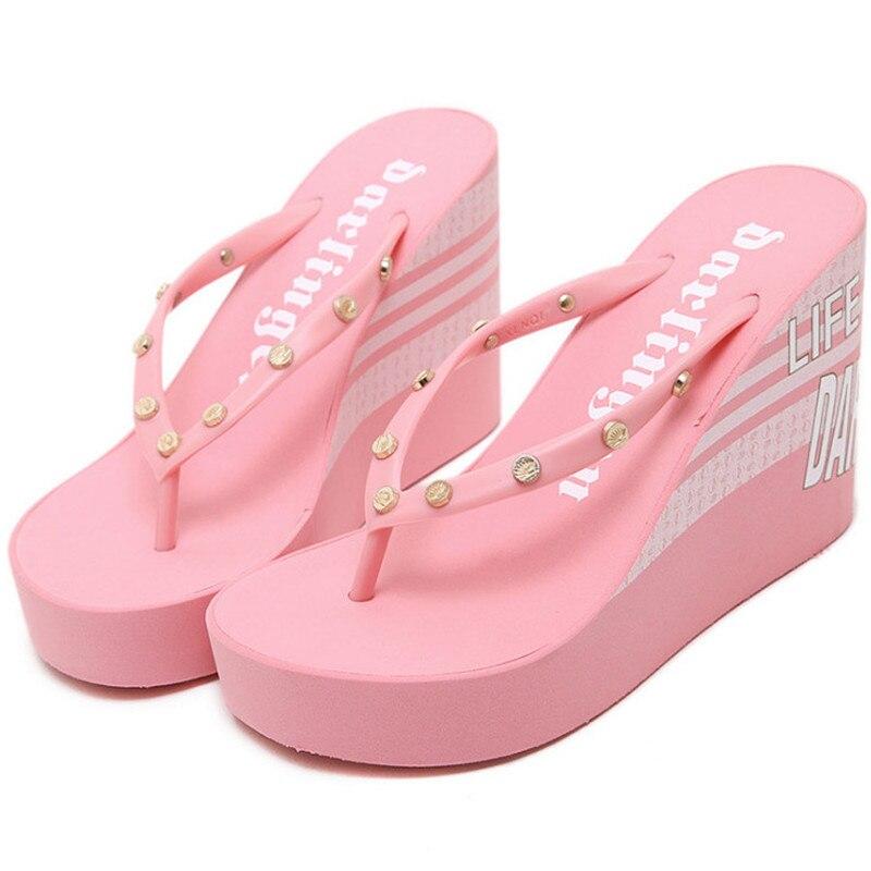 2016 New Rivet Flip Flops Women Shoes Sexy Platform Sandals Women Slippers Wedge Sandals Women Beach