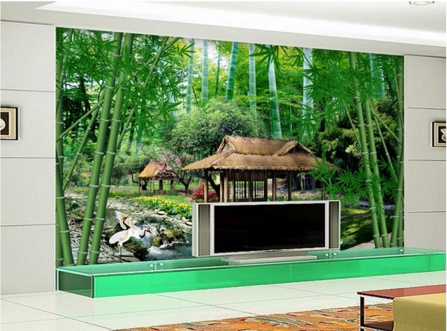 custom mural 3d photo wallpaper fresh bamboo scenery home decor