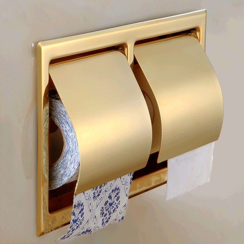 Free Shipping High-end Toilet Paper Holder Wall Mounted Gold Finish luxury golden color toilet paper holder wall mounted roll toilet paper rack with cover bathroom accessories free shipping 3308