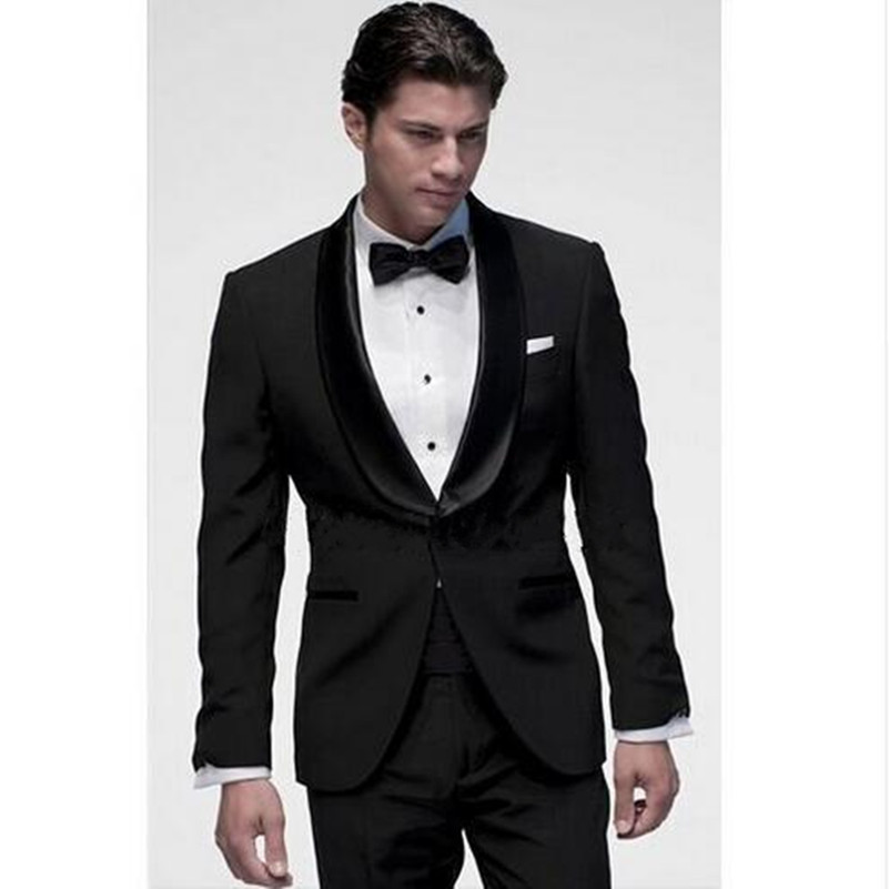Custom Made Black Men Suits Shawl Lapel Groomsman Tuxedos High Quality Cheap Men Wedding Suits ( jacket+Pants+Tie)
