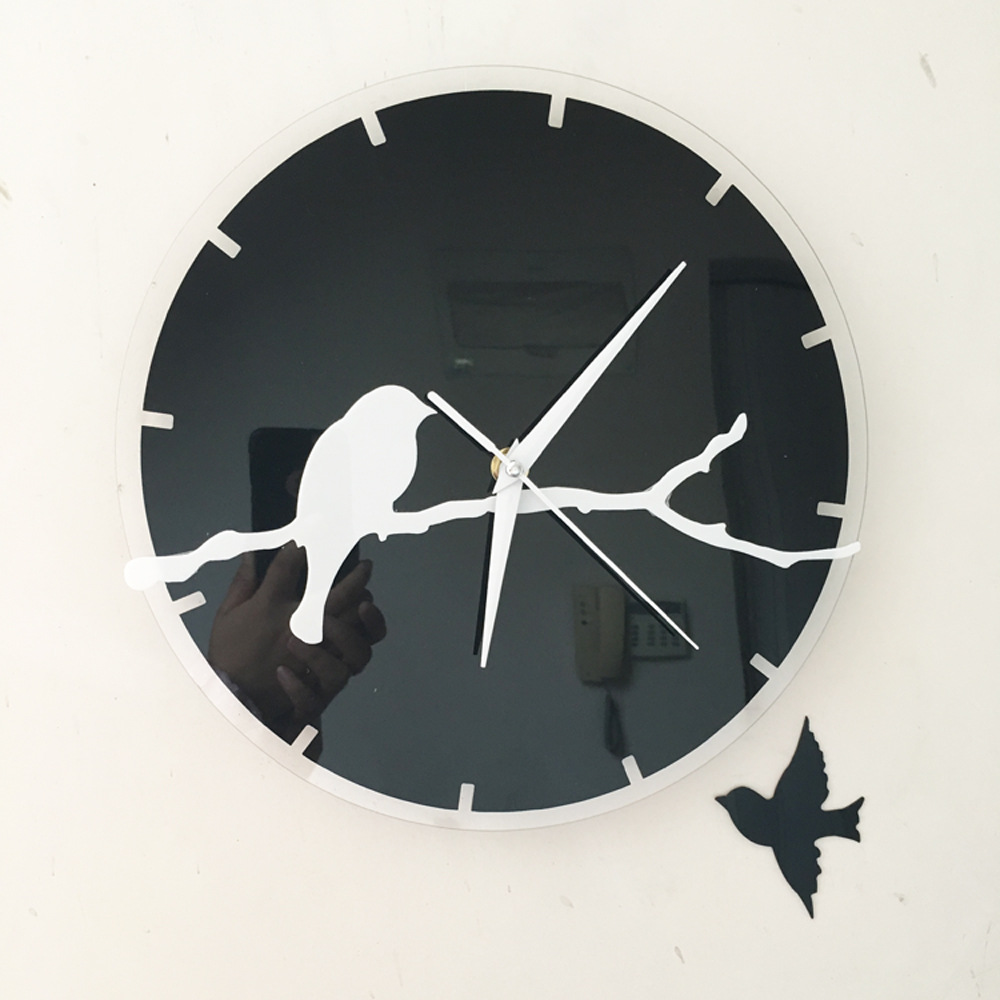 hanging wall clock bird the modern concise style fireplace surround decorating fashion art quartz mirror