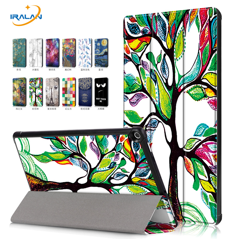 Tablet Case For Amazon new Kindle Fire HD 10 2017 10.1 INCH Ultra Thin Tri-Folding PU Leather Smart Cover+Screen film+stylus pen cartoon painted flower owl for kindle paperwhite 1 2 3 case flip bracket stand pu cover for amazon kindle paperwhite 1 2 3 case