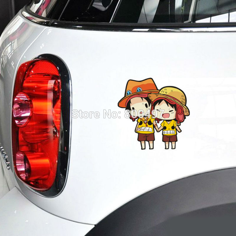 10 X Funny Car-cover Cartoon One Piece Luffy Ace Group Car Sticker Decal For Ford Toyota Chevrolet Volkswagen Honda Hyundai Lada