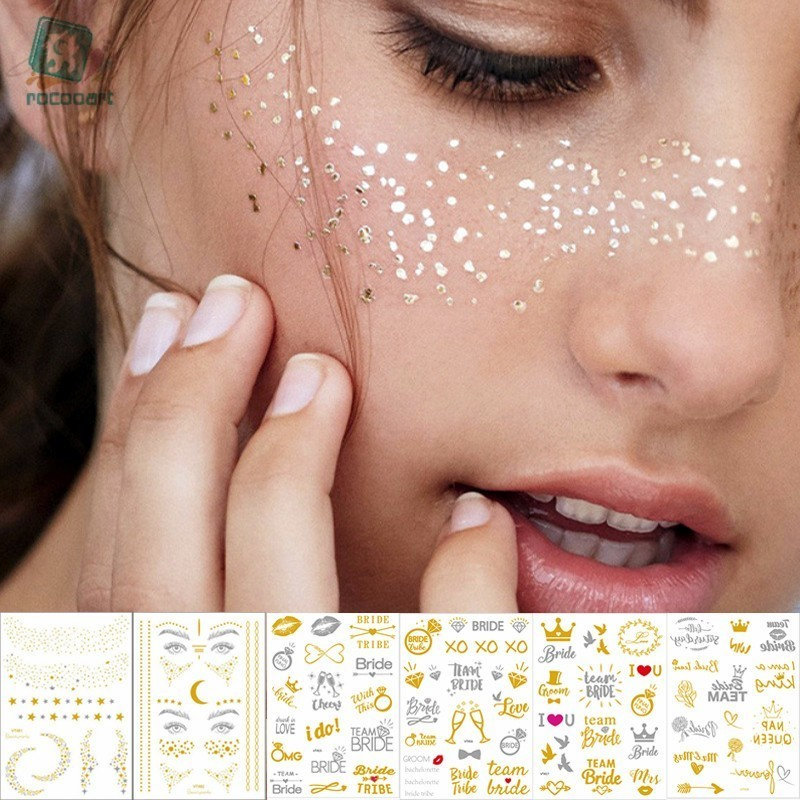 1Sheet Gold Silver Face Tattoo Waterproof Bronzing Freckles Make Up Body Art Flash Tattoo Sticker Eye Decals Bride Tribe Party