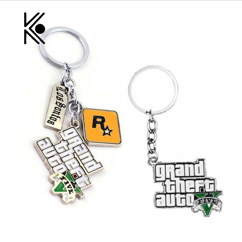 Free Shipping PS4 GTA 5 Game keychain Grand Theft Auto 5 Keychains For Men Fans Xbox PC Rockstar Can Drop Shipping new 2015 free shipping adolescent grand theft auto gta 5 sitcoms man men male sports short sleeve t shirt