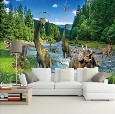 Custom Photo Wallpaper 3D Stereo Large Murals Jurassic era dinosaurs living room sofa bed bedroom flash silver cloth wallpaper