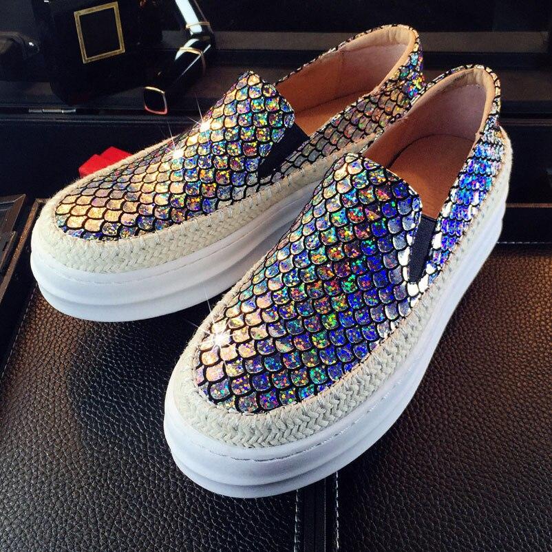2016 planos del cuero genuino zapatos de plataforma mujer alpargatas Slip On zapatos planos de plata
