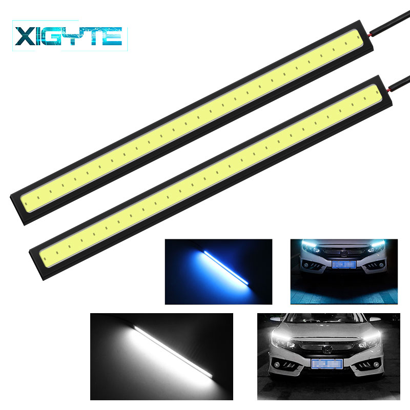 2pcs 17CM COB LED Strip Light Interior Exterior Fog Daytime Lamp DRL White 12V