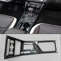 ABS Matte Overall Gear Box Cover Water Cup Frame Sequins Trim For Volkswagen VW Tiguan L 2017 2018 Interior Accessories 1pcs