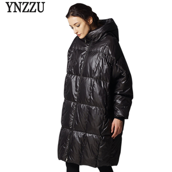 YNZZU High Quality Women's Winter Jacket Winter Loose Thick Warm White Duck Down Coat Casual Outwears Large Size AO352