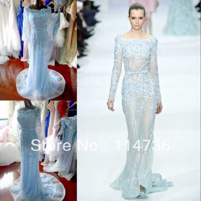 Hot sale Elie Saab 2013 Spring Prom dresses Bateat Sheath Full ...