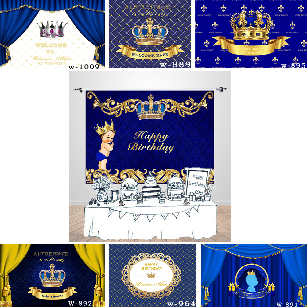 Happy Birthday Background Blue and Gold Crown Baby Boy Royal Prince Birthday Backdrop Baby Bhower Photophone Dessert Table Decor