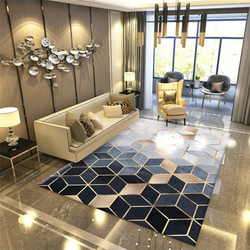New Modern Soft Carpets For Living Room Bedroom Rugs Geometric Metal Style Area Rug Home Carpet Floor Door Mat Decoartive