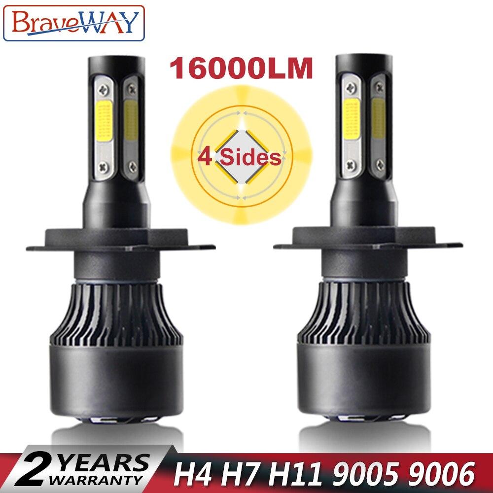 BraveWay 4 lados lúmenes COB LED 16000LM H4 H7 H11 9005 9006 coche LED bombillas de faros de faro LED de luz 12 V 24 V bombillas de luz
