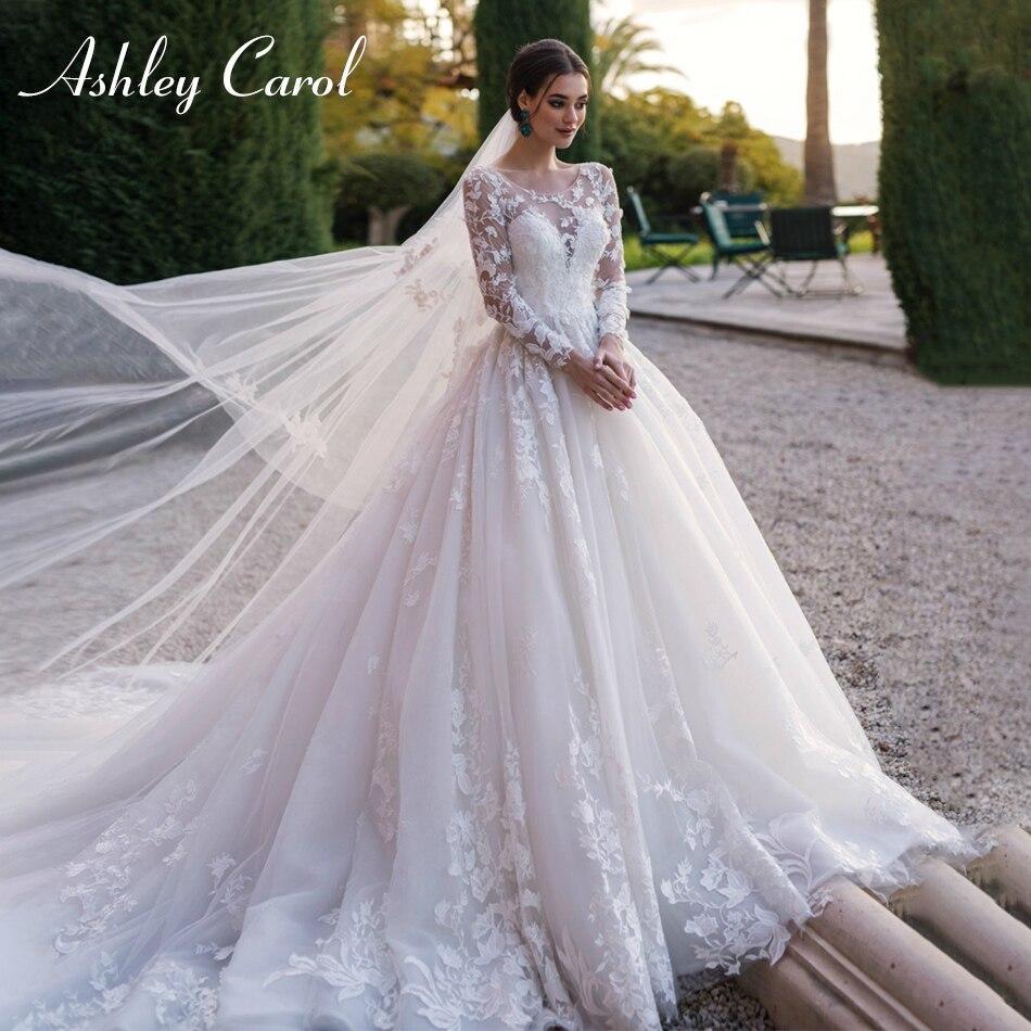 Ashley Carol Scoop Long Sleeve Tulle Wedding Dresses 2019 Lace Up Luxury Chapel Train Bride Dress Vintage Princess Wedding Gowns