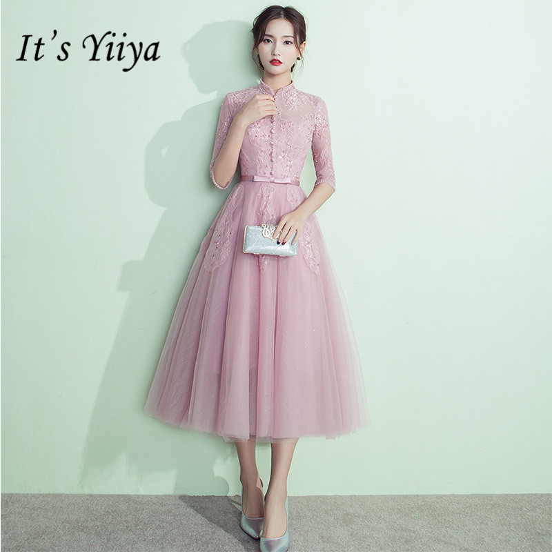 It's YiiYa New Simple Lace Hale Sleeveless   Bridesmaid     Dresses   Elegant Beading Slim A-line   Dress   H119