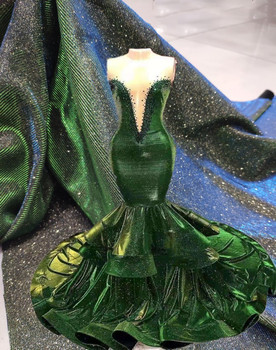 Glitter Sequins Tulle Mesh Lace Fabric Green Shining Party Dress Lace Fabric tissu dentelle nigeria