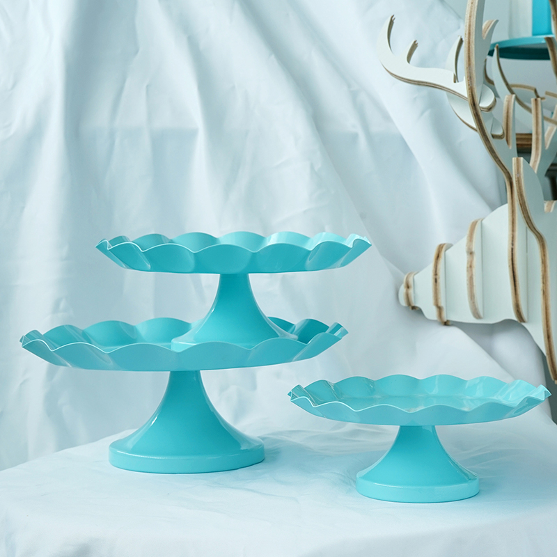 SWEETGO Tiffany blue Snack tray cake stand cupcake plate tools waterproof paint candy bar decoration for wedding party ring tray