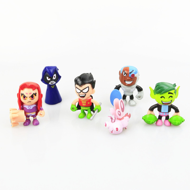6 Pcs/set Teen Titans Go Action Figures 5CM Plastic Robin Cyborg Beast Raven Teen Titans Toys For Kids Decoration teen titans starfire tamaran princess cosplay costume f006